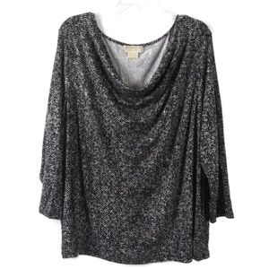 3x MICHAEL KORS Black White Drape 3/4 Sleeve Top